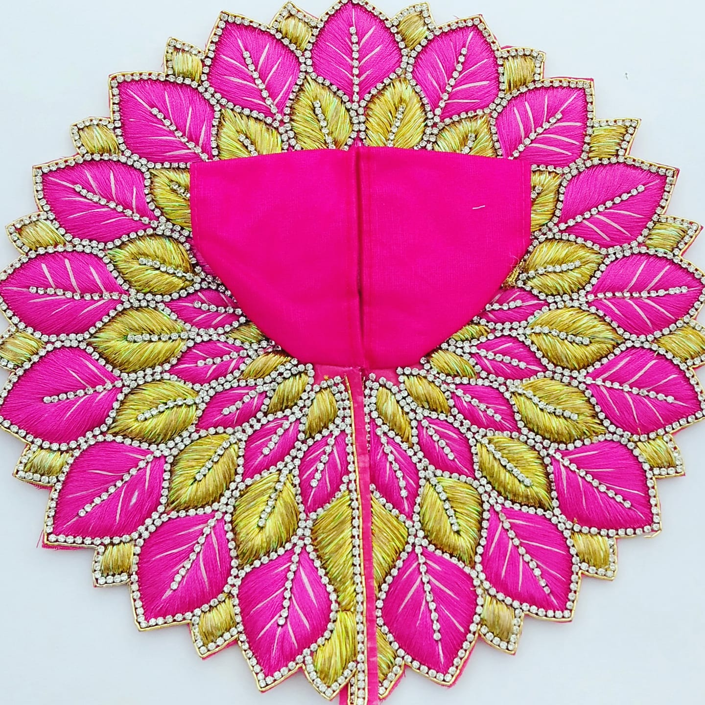 Laddu Gopal pink zari dress